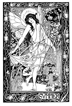 Wiccan Coloring Pages   Vintage Summer Lady Printable and Great New Samples!