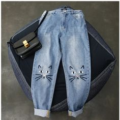 16.99$  Buy now - http://alif7x.shopchina.info/go.php?t=32811303823 - New Arrival 2017 Women's Cat Face Embroidered Jeans Denim Pants   #buychinaproducts