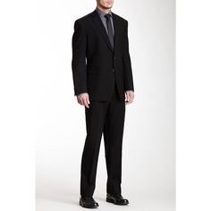 Kenneth Cole New York Solid Two Button Notch Lapel Wool Suit (€200) ❤ liked on Polyvore featuring men's fashion, men's clothing, men's suits, black, kenneth cole mens clothing, kenneth cole mens suits, merino wool mens clothing and mens wool suits
