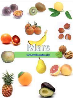 Produits de saison, fruits, légumes, poissons, fromages de mars. Continuons à consommer au rythme de saison, pour nous faire plaisir, nous faire du bien...