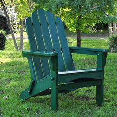 Marina Folding Adirondack Chair in Hunter Green.