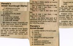Pamela's Amish Bread - Historic Recipe - Collections hosted by the Milwaukee Public Library Friendship Bread Recipe, Friendship Bread Starter, Amish Friendship Bread, Friendship Cake, Amish Bread Starter, Sourdough Bread Starter, Sourdough Recipes, Amish Bread Recipes, Yeast Bread
