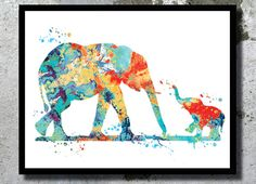 Mom baby elephant watercolor print 2 Elephants nursery print Elephant painting Elephant poster Animal wall decor New Baby gift birthday gift