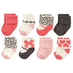 Luvable Friends Unisex Baby Newborn and Baby Terry Socks. - Soft, gentle and comfortable on baby's skin - Optimal for everyday use - Affordable, high quality value pack Baby Girl Socks, Girls Socks, Baby Girl Newborn, Baby Girls, Baby Vision, Buy Socks, Warm Socks, Pink Beige, Pink Leopard