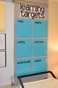 Black and neon. LOVE THIS CLASSROOM ORGANIZATION-- Learning targets with laminated pages for dry erase markers!