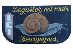 French Hand-Painted Wood Escargot Sign