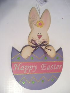 WOOD HAPPY EASTER BUNNY IN LILAC PURPLE EGG SPRING HANGING