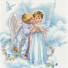 Angel Kisses Counted Cross-Stitch Kit