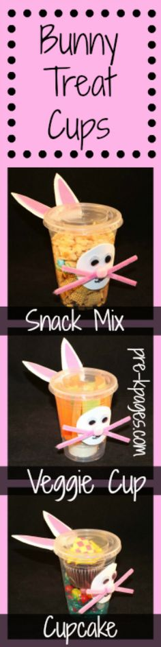 Bunny Treat Cups for Easter and Non-Easter Classroom Parties in Preschool and Kindergarten- includes healthy snacks!