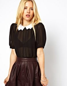 Image 1 of ASOS Blouse With Contrast Lightening Collar