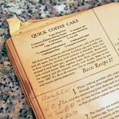 cinnamon sugar coffee cake, a vintage recipe