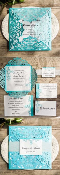 tiffany blue swirl laser cut wedding invitations