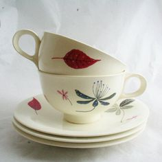 Love her work  Vtg Hall Eva Zeisel Caprice 2 Tea Cups 3 Saucers Hallcraft Midcentury China