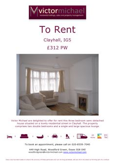 Thinking of renting in Clayhall, #Ilford, #Essex?  It could be yours from £312pw.  Close to underground station
