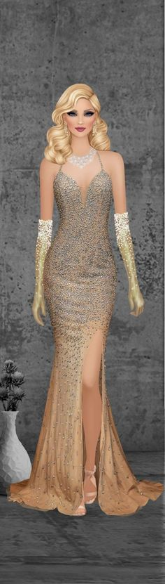 Fashion Dolls, Fashion Art, Fashion Dresses, Elegant Hairstyles, Down Hairstyles, Formal Wear, Formal Dresses, Maxi Outfits, Half Up Half Down Hair