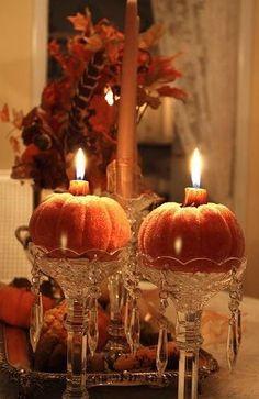 .candles in pumpkins