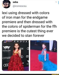 Lexi using dressed with colors of iron man for the endgame premiere and then dressed with the colors of spiderman for the ffh premiere is the cutest thing ever we decided to stan forever - iFunny :) Funny Marvel Memes, Dc Memes, Marvel Jokes, Avengers Memes, Marvel Actors, Marvel Heroes, Marvel Avengers, Infinity War, Used Dresses