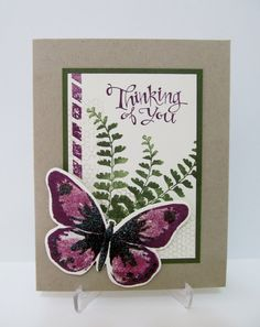 Thinking of You Card, Butterfly, Purple, Hand Stamped Card