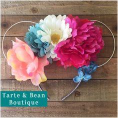 READY TO SHIP floral Mouse Ears Headband by TarteandBeanBoutique