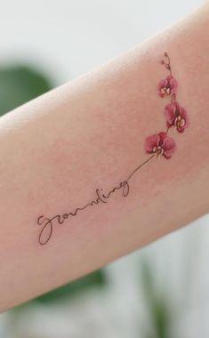 Family Tattoos, Mom Tattoos, Little Tattoos, Cute Tattoos, Body Art Tattoos, Tattoos Meaning Family, Tatoos, Orchid Flower Tattoos, Flower Wrist Tattoos