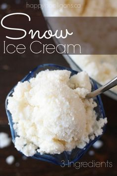 3-ingredient snow ice cream recipe   Sam--I googled it and this looks delicious!!!  I need to make it now!!!