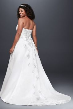 A-line Plus Size Wedding Dress with Lace Up Back | David's Bridal