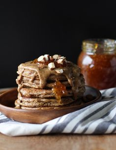 Grain-Free Protein Pancakes made with almond butter and almond flour…