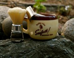 "Gillette Tech razor, 1938-41; vintage nylon brush; Seaforth ""Heather 'n' Fern"" shaving mug"