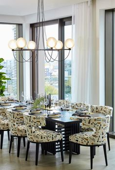 Globe Chandelier at a private residence in London. Studio Lamp, Globe Chandelier, Globe Lights, Danish Design, Furniture Design, Dining Chairs, Table Settings, Style Inspiration, Table Decorations