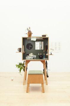Koloro desk and stool set by Torafu Architects Photography by Akihiro Ito