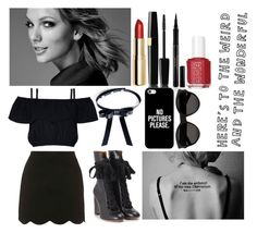 """""""Courtyard Magic//Stellarum Academy"""" by rainbowfangirl ❤ liked on Polyvore featuring Agent Provocateur, Topshop, H&M, Elizabeth Arden, Essie, Valfré, Chloé, Casetify and Yves Saint Laurent"""