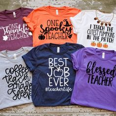 Fall Long Sleeve Tees - Fall Shirts - Ideas of Fall Shirts Fall Shirts for sales. Preschool Teacher Shirts, Teaching Shirts, Teaching Outfits, Teacher T Shirts, Shirts For Teachers, Fall Shirts, Cute Shirts, Work Shirts, Teacher Wear