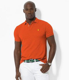 Bright colored shirt with white pants