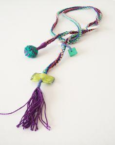 2aStudio Eleftheria Spantidaki Tassel Necklace, Crochet Necklace, Necklaces, Fabric Squares, Fashion Forward, Tassels, Jewelry, In Trend, Jewlery
