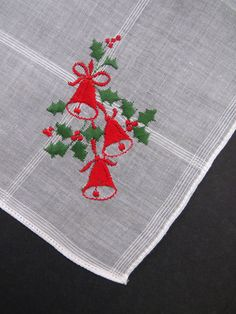 Embroidered Christmas Handkerchief by Desco - Red Bells Holly - Womens Holiday Accessories Collectible Secret Santa Stocking Stuffer UNUSED by shabbyshopgirls on Etsy