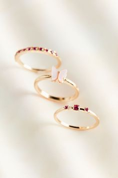 Wave hello to this dainty and delicate ring set by UO, inspired by the flight of butterflies. Includes three slim bands with rhinestone accents. Delicate Rings, Delicate Jewelry, Simple Jewelry, Cute Jewelry, Jewelry Shop, Hand Jewelry, Jewelry Rings, Jewelery, Jewelry Accessories