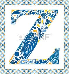 Blue floral capital letter Z in frame made of Portuguese tiles