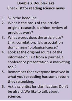 Checklist for reading science news