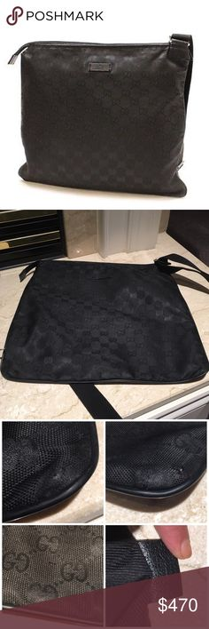"""Authentic Gucci Nylon Crossbody Bag Authentic Gucci Nylon Crossbody. Worn many times. The corners are a bit worn as shown in pic. Adjustable strap. One zipped small pocket inside. Leather trim. Reasonable offers considered through offer button only. Measures 14"""" X 12"""" Gucci Bags Crossbody Bags"""