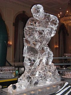 ice hockey player ice sculpture bar bat mitzvah centerpiece ice hockey wedding