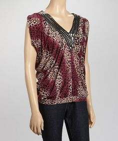 Another great find on #zulily! Burgundy Leopard Rhinestone Cap-Sleeve Top #zulilyfinds I hate shipping charges.