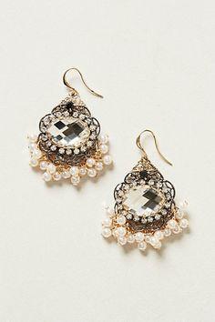 pearl fringe dangly earrings
