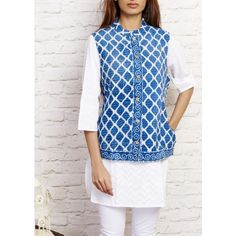 Gleamberry | Steel Blue and Golden Mist Rajasthani Block Print Handloom Reversible Jacket