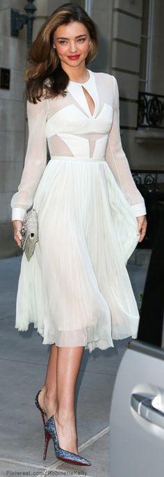 Miranda Kerr. Pretty White Midi Dress #Provestra #Skinception #coupon code nicesup123 gets 25% off