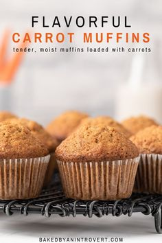 Learn how to make the BEST Carrot Muffins that are so moist and flavorful! This easy recipe is made without nuts and is great for breakfast or mid-day snack! snacks without oven The BEST Carrot Muffins Gluten Free Muffins, Gluten Free Baking, Healthy Muffins, Muffin Recipes, Baking Recipes, Easy Recipes, Bread Recipes, Healthy Recipes, No Bake Desserts