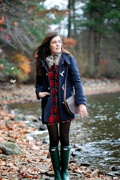 Jacket by Jack Wills, dress by Ralph Lauren, bag by L.L. Bean, boots by Hunter. (November 13, 2013)