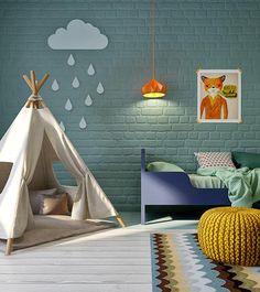 Cuarto infantil lleno de color en una casa de diseño