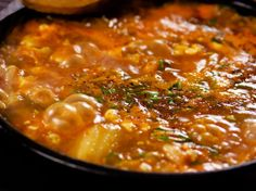 Soondubu Jjigae (Korean Soft Tofu Stew) [replace sardines with miso, leave out the pork]
