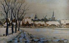 Stadstekeningen: Een gezicht op Groenlo. Het is een schilderij van Johannes Hessel Brolsma (1909-1990), die een tijdje in Groenlo heeft gewoond en gewerkt (tot 1937). Het schilderij is in privébezit.