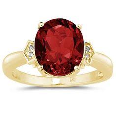 4.50 Carat Garnet & Diamond Ring in Yellow Gold